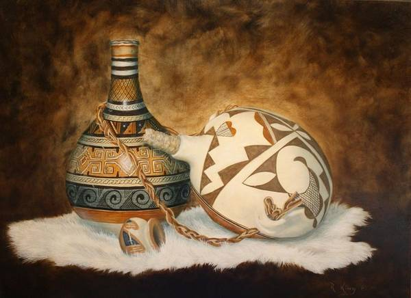 Wall Art - Painting - You Tube Video-indian Pots by Roena King