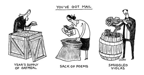 Package Wall Art - Drawing - You've Got Mail -- A Triptych Of Strange Packages by Tom Chitty