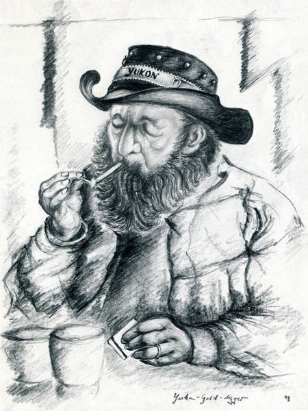 Drawing - Alaska Gold Digger - Pencil Drawing by Peter Potter