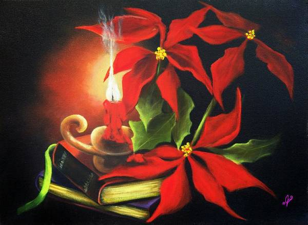 Painting - Yule Candle Glow by Joni McPherson