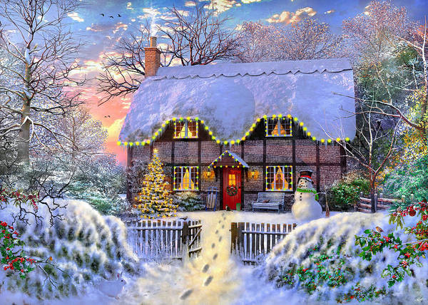 Wall Art - Painting - Yuletide Cottage by MGL Meiklejohn Graphics Licensing