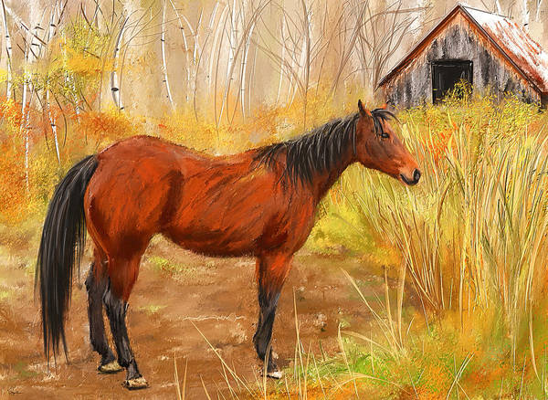 Wall Art - Painting - Yuma- Stunning Horse In Autumn by Lourry Legarde
