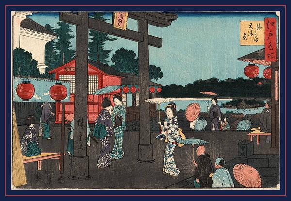 1854 Drawing - Yushima Tenmangu by Utagawa Hiroshige Also And? Hiroshige (1797-1858), Japanese