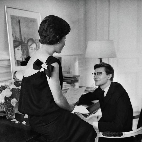 Two People Photograph - Yves St. Laurent With His Mother by Willy Rizzo