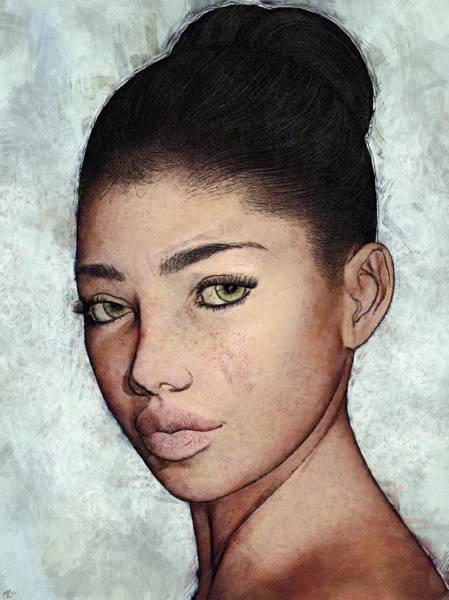 Painting - Yvette Portrait by Maynard Ellis