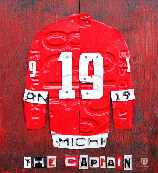 Wall Art - Mixed Media - Yzerman The Captain Red Wings Hockey Jersey License Plate Art by Design Turnpike