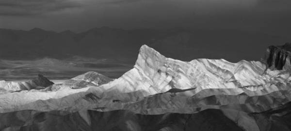 Photograph - Zabriske Point Panorama 01 Bw by Jim Dollar