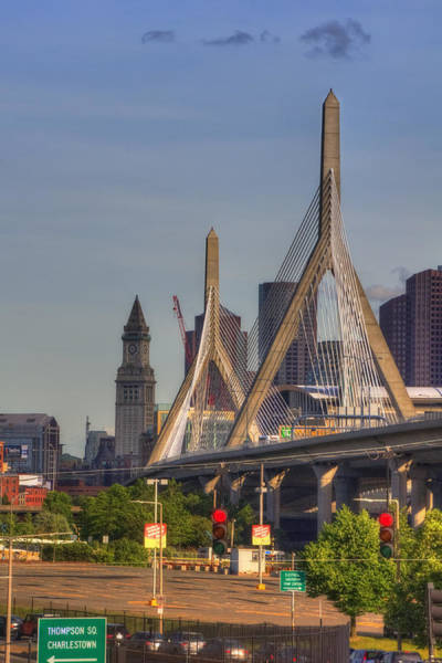 Photograph - Zakim Bridge And Blue Skies by Joann Vitali