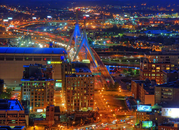 Photograph - Zakim Bridge And Td Garden Boston Aerial by Joann Vitali