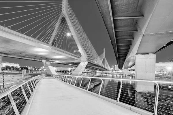 Photograph - Zakim Bridge Twilight In Boston Bw by Susan Candelario