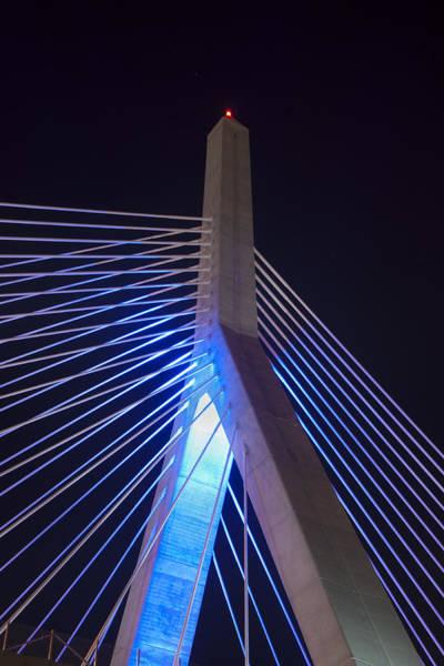 Photograph - Zakim In Blue 2 - Boston by Joann Vitali