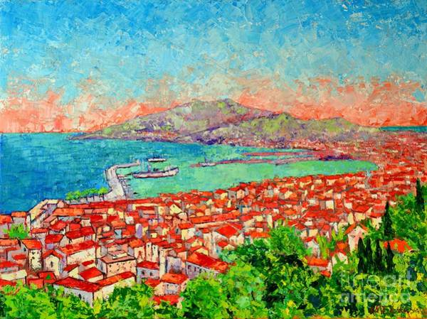 Maria Island Wall Art - Painting - Zakynthos Sunset Light View From Bohali Hill by Ana Maria Edulescu