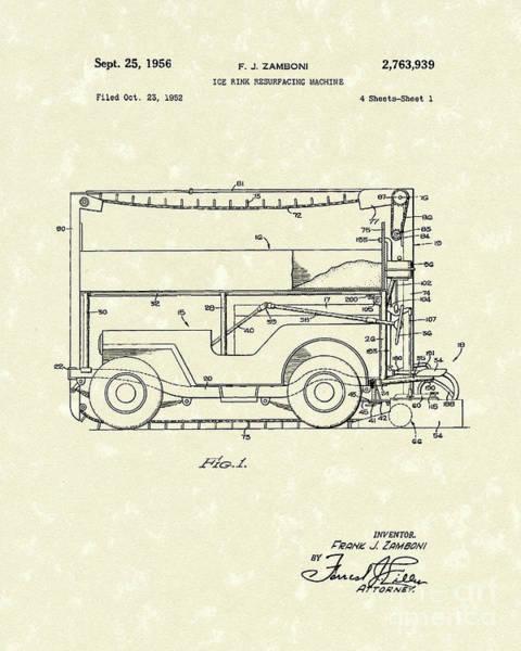 Drawing - Zamboni 1956 Patent Art by Prior Art Design