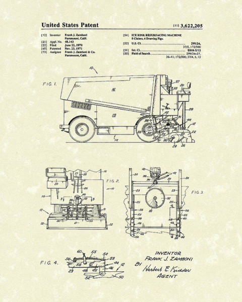 Care Drawing - Zamboni 1971 Patent Art by Prior Art Design
