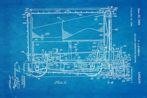 Wall Art - Photograph - Zamboni Ice Rink Resurfacing Patent Art 1953 Blueprint by Ian Monk