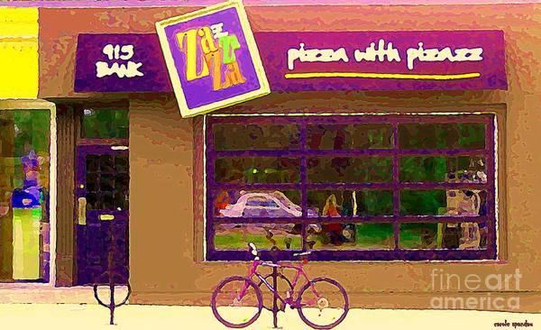 Painting - Zazaza Pizza With Pizazz Gourmet Pizza In The Glebe Urban Scenes Old Ottawa  Art C Spandau  by Carole Spandau