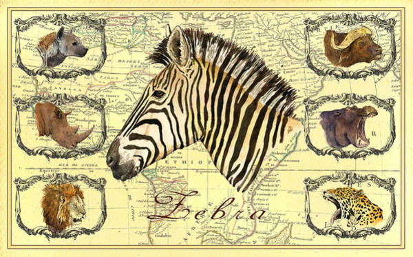 Wall Art - Digital Art - Zebra African Map Heads by Juan  Bosco