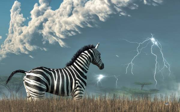 Digital Art - Zebra And Approaching Storm by Daniel Eskridge
