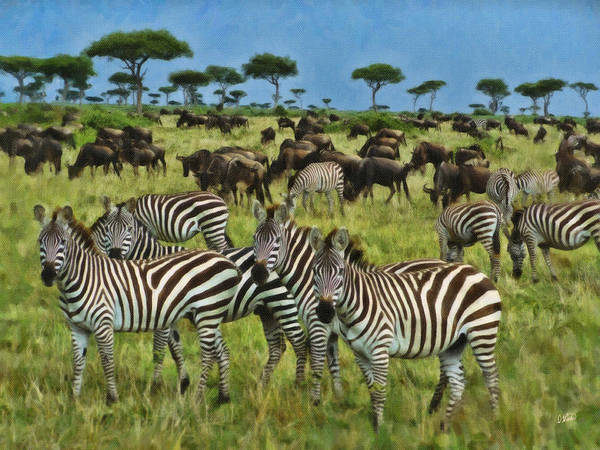 Painting - Zebra And Wildebeast by Dean Wittle