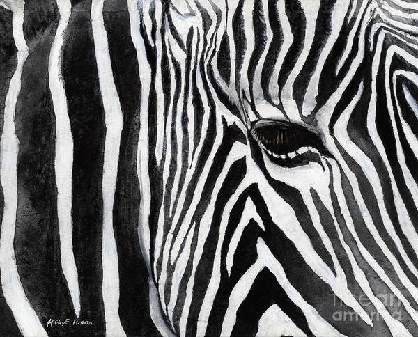 Monochrome Painting - Zebra Eye by Hailey E Herrera