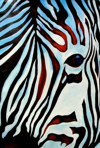 Painting - Zebra Face by Ras T