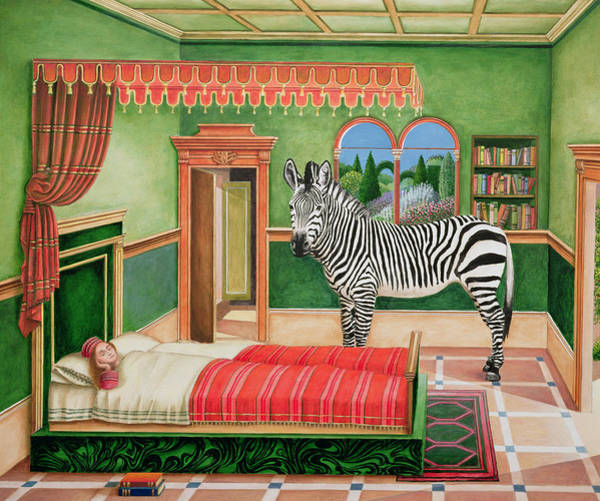 Wall Art - Painting - Zebra In A Bedroom, 1996 by Anthony Southcombe
