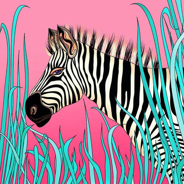 Et Digital Art - Zebra On Pink Background by Et