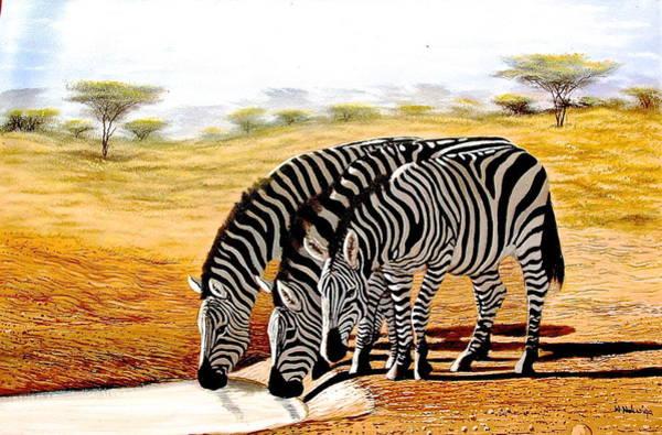 Painting - Zebras Drinking by Wycliffe Ndwiga