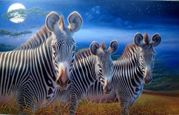 Hans Droog Wall Art - Painting - Zebras by Hans Droog