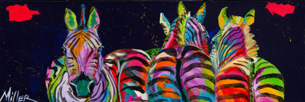 Colorado Wildlife Wall Art - Painting - Zebras In A Row by Tracy Miller