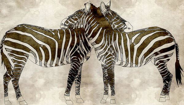 Baby Gorilla Painting - Zebras In Love by Asar Sudios