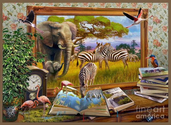 Wall Art - Digital Art - Zebras by MGL Meiklejohn Graphics Licensing