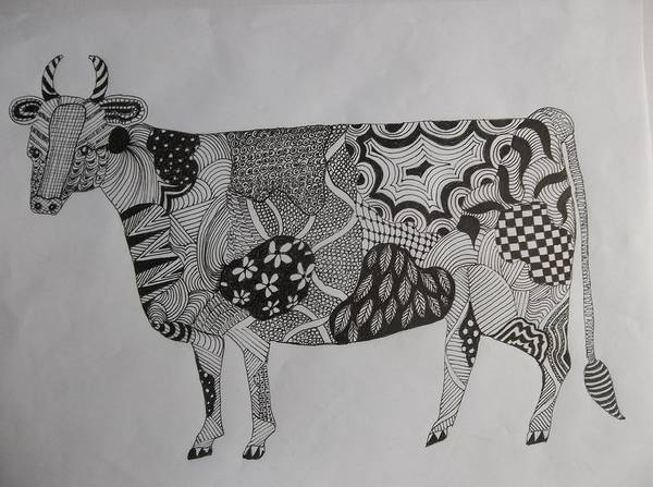 Drawing - Zen Cow by Audrey Bunchkowski