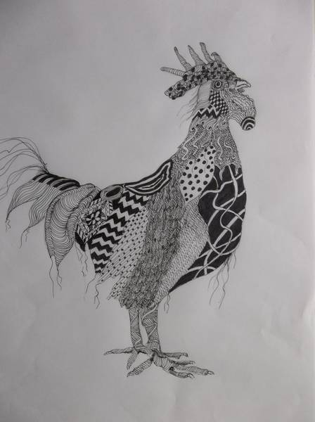 Painting - Zen Rooster Left by Audrey Bunchkowski