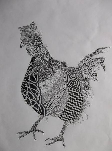 Drawing - Zen Rooster Right by Audrey Bunchkowski
