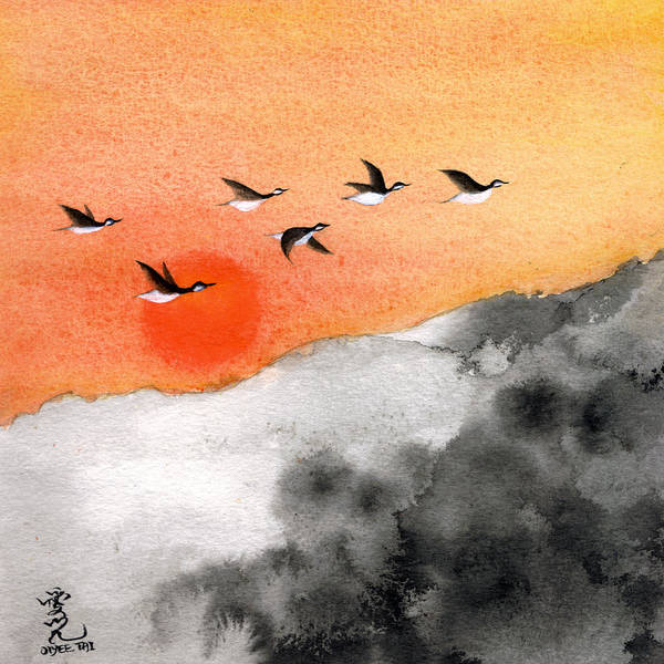Painting - Zen Sunset by Oiyee At Oystudio