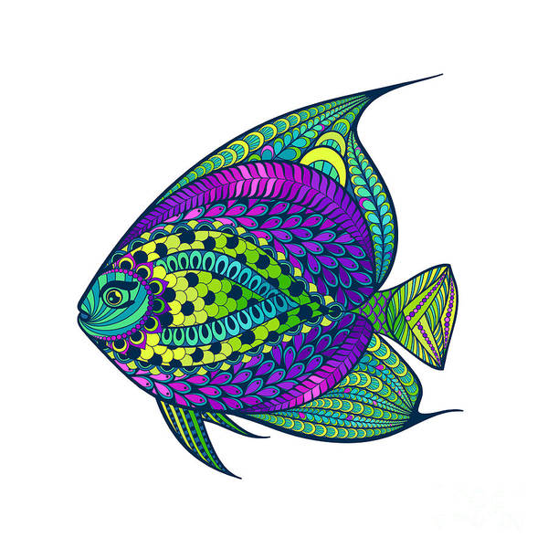 Decorative Digital Art - Zentangle Stylized Fish With Abstract by Avokishvok