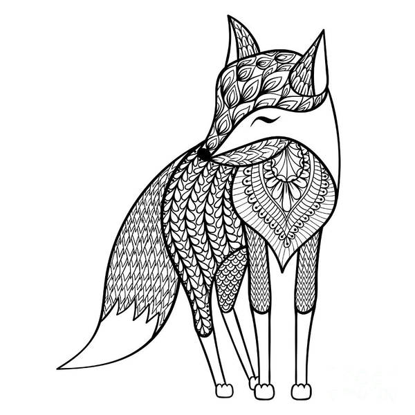 Foxes Digital Art - Zentangle Vector Happy Fox For Adult by Panki