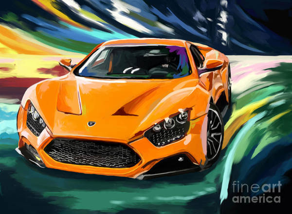 Top Gear Wall Art - Painting - Zenvo St1 by Tim Gilliland