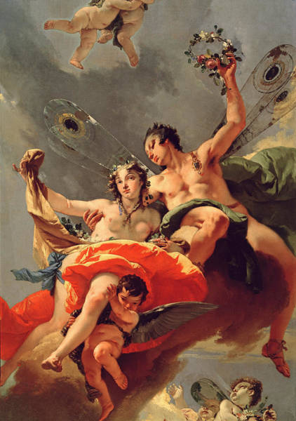 Ceiling Painting - Zephyr And Flora by Giovanni Battista Tiepolo