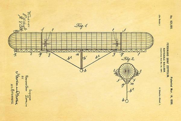 Wall Art - Photograph - Zeppelin Navigable Balloon Patent Art 1899 by Ian Monk