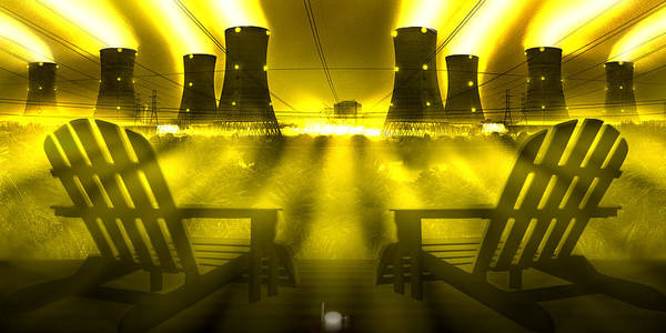 Cooling Tower Photograph - Zero Hour In Yellow by Mike McGlothlen