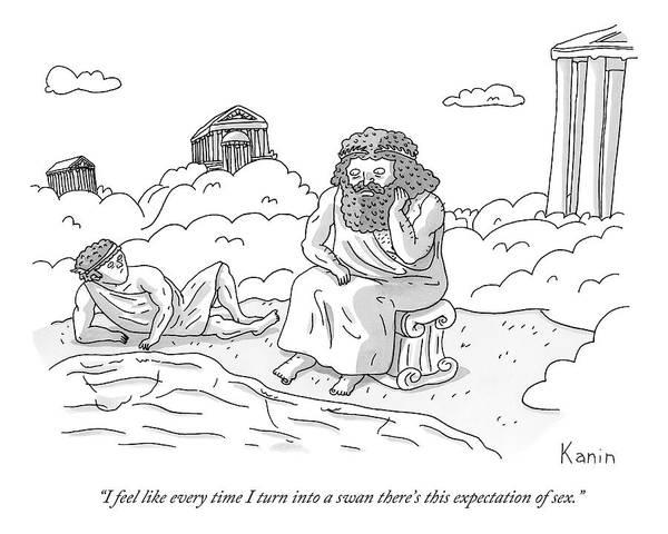 Zeus Speaks Gloomily To Hermes By A Pond Art Print