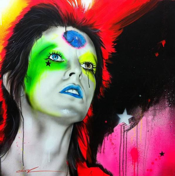Bowie Painting - Ziggy Played Guitar by Christian Chapman Art