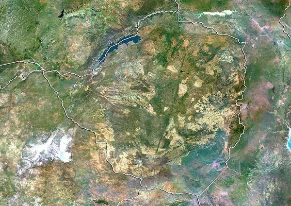 Landsat 7 Wall Art - Photograph - Zimbabwe by Planetobserver/science Photo Library
