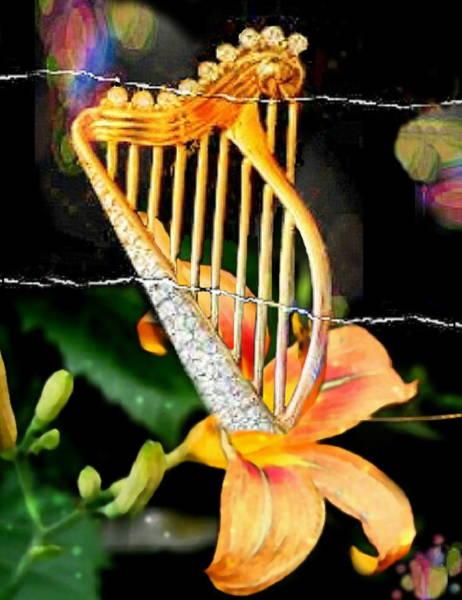 Harp Digital Art - Zing Went The Strings by Ellen Cannon
