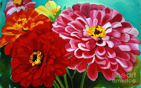 Zinnia Flower Wall Art - Painting - Zinnias by Jayne Morgan