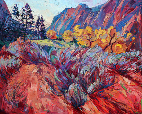 Red Rock Painting - Zion Sage by Erin Hanson
