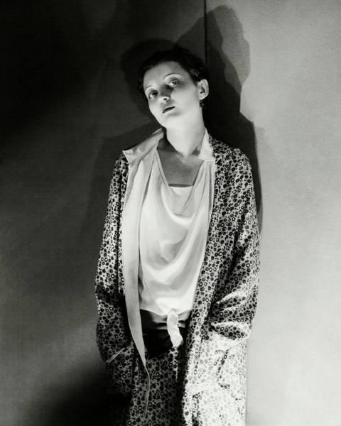 Photograph - Zita Johann Wearing A Floral Coat by George Hoyningen-Huene