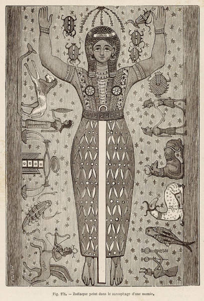 Mummy Drawing - Zodiac Signs Painted by Mary Evans Picture Library